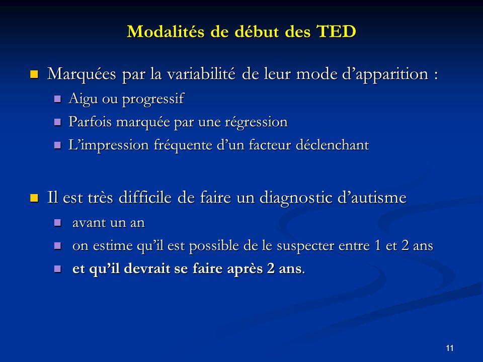 Modalités de début des TED