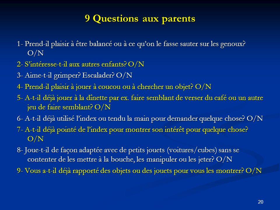 9 Questions aux parents 1- Prend-il plaisir à être balancé ou à ce qu'on le fasse sauter sur les genoux O/N.