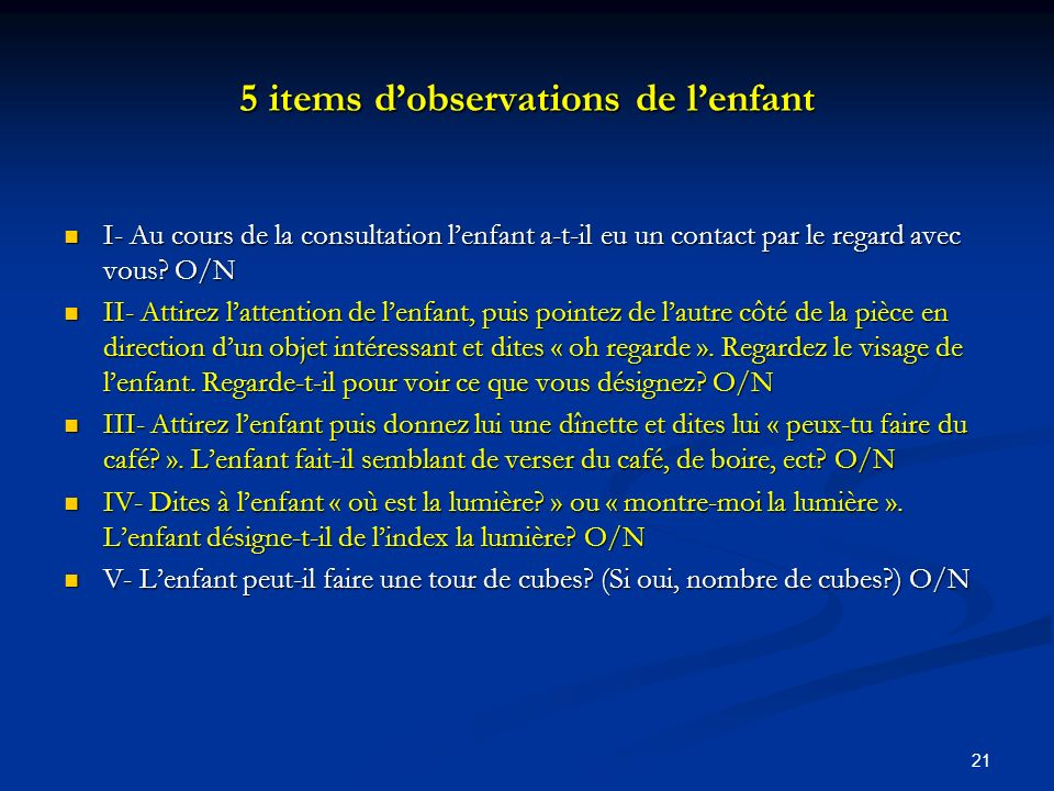 5 items d'observations de l'enfant