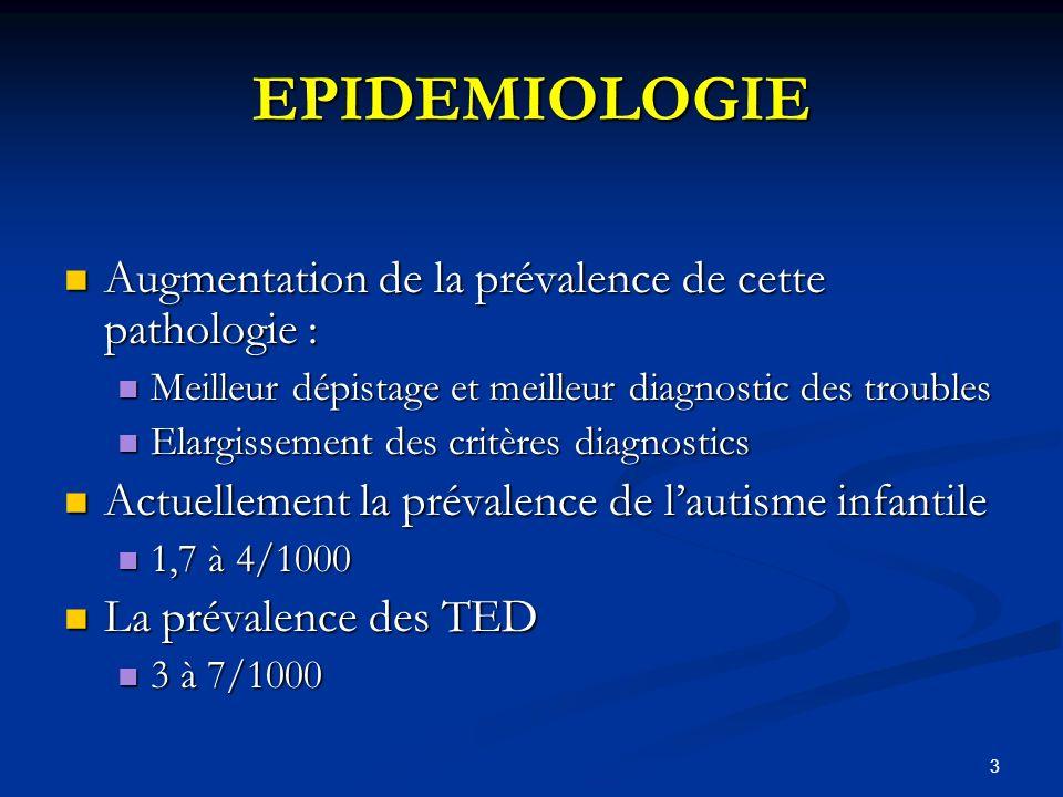 EPIDEMIOLOGIE Augmentation de la prévalence de cette pathologie :