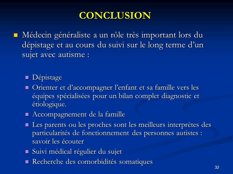 CONCLUSION Médecin généraliste a un rôle très important lors du dépistage et au cours du suivi sur le long terme d'un sujet avec autisme :