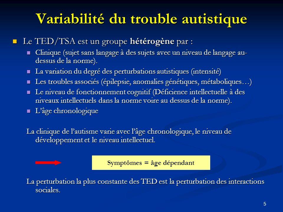 Variabilité du trouble autistique