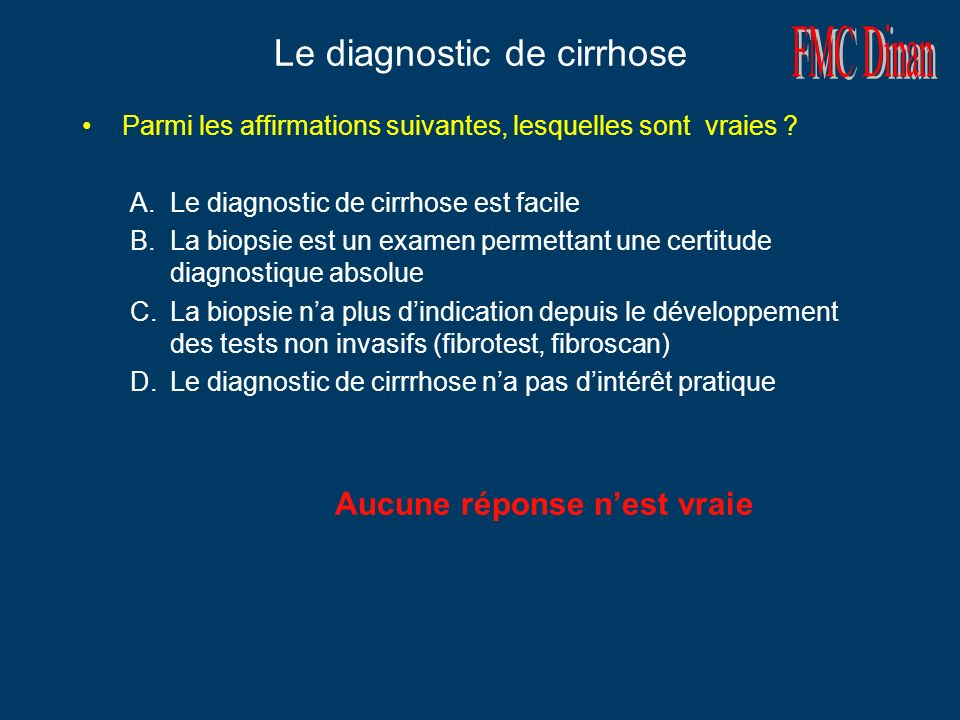 Le diagnostic de cirrhose