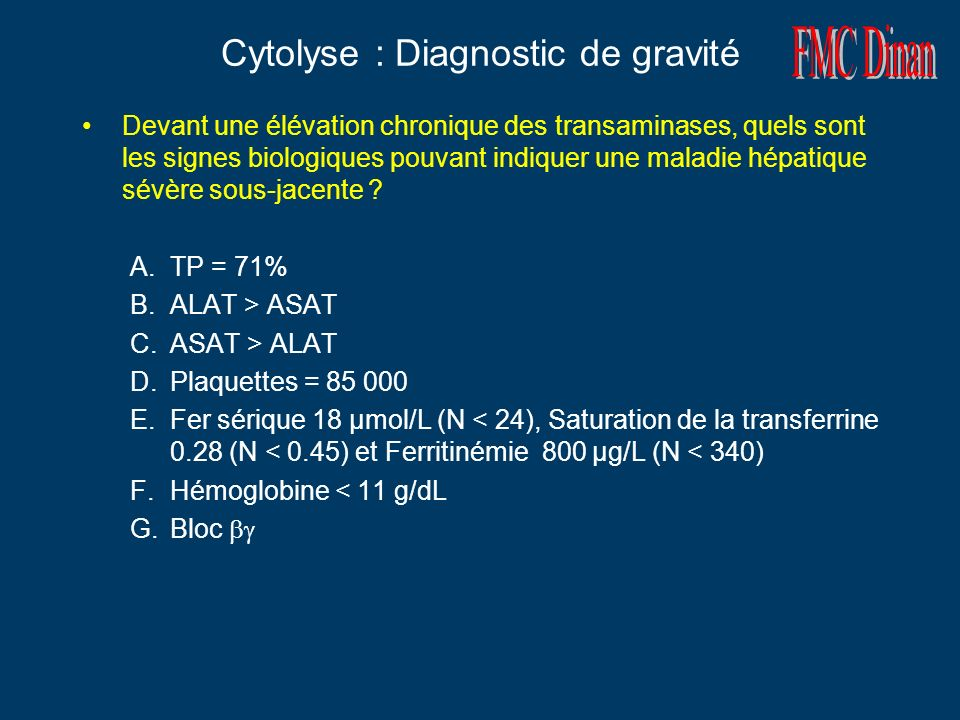 Cytolyse : Diagnostic de gravité
