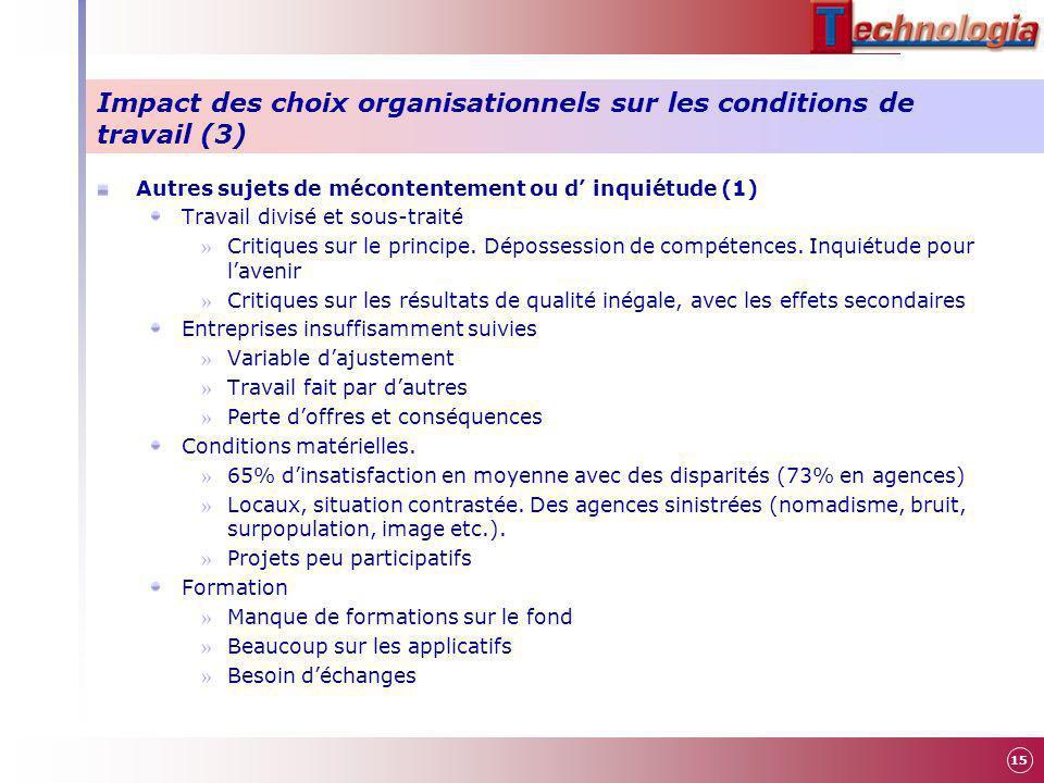Impact des choix organisationnels sur les conditions de travail (3)