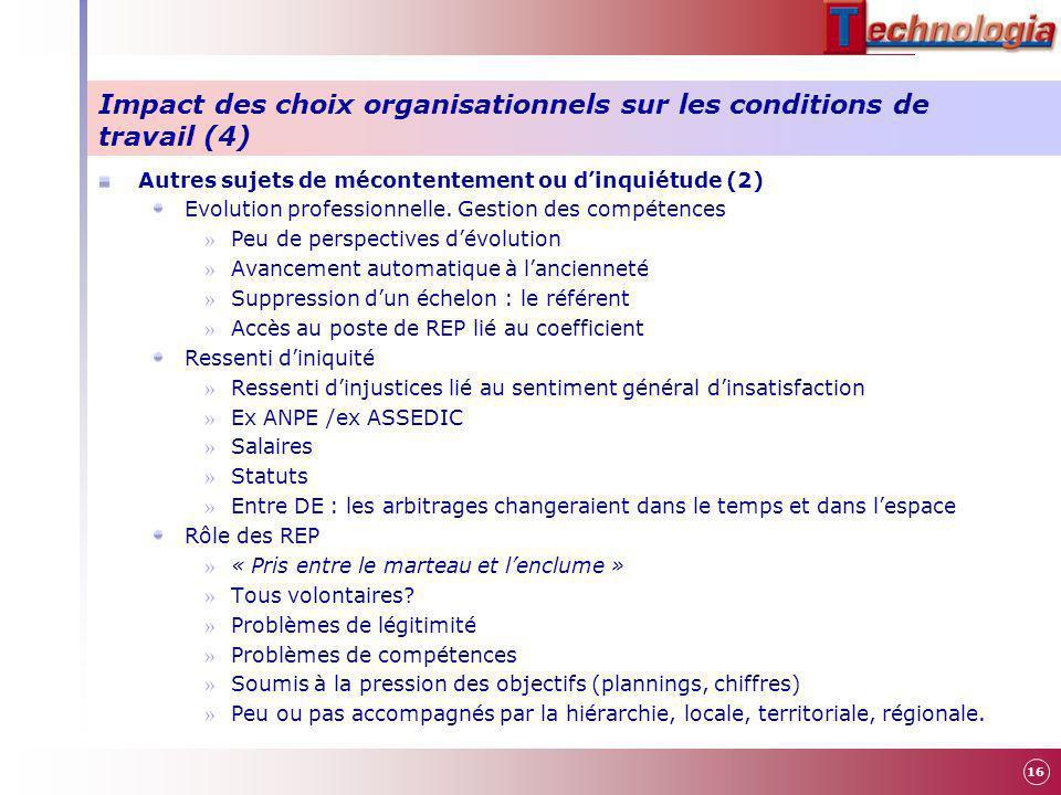Impact des choix organisationnels sur les conditions de travail (4)