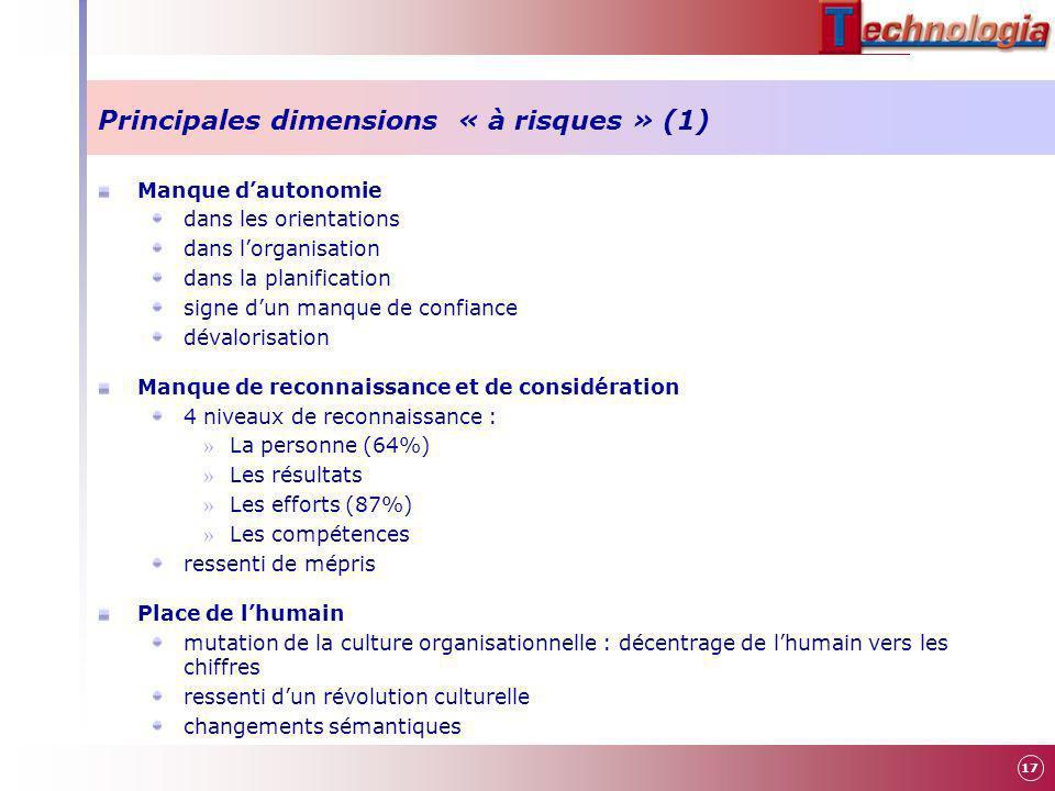 Principales dimensions « à risques » (1)