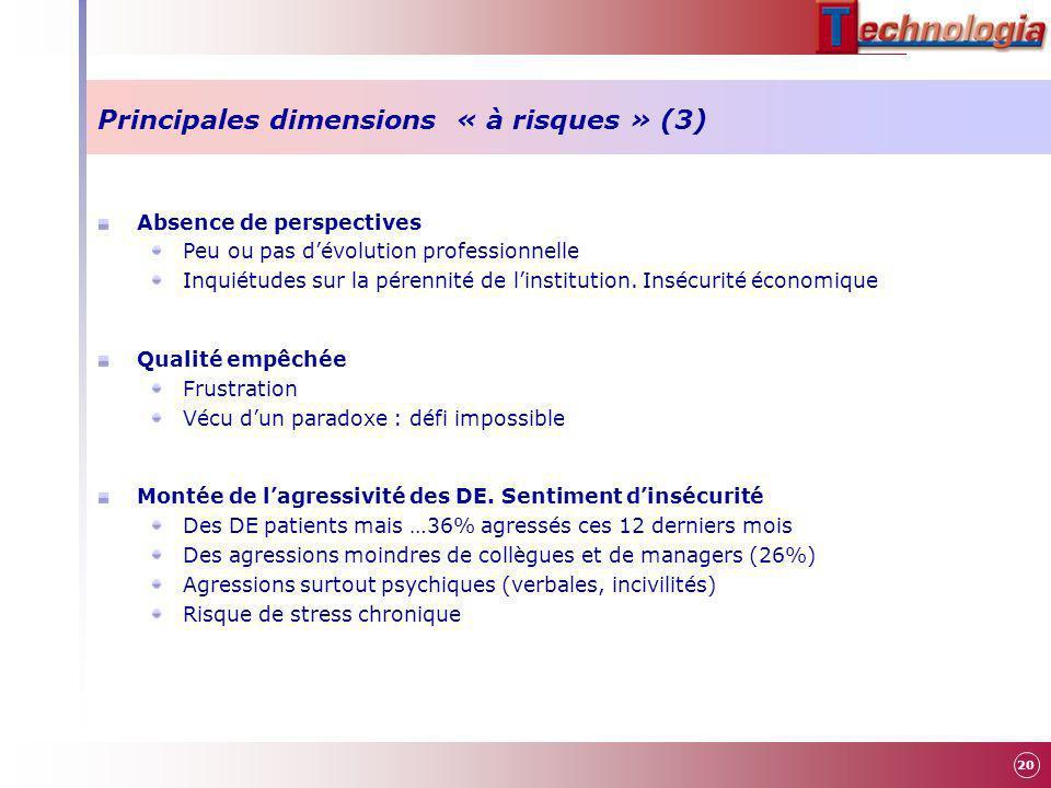 Principales dimensions « à risques » (3)