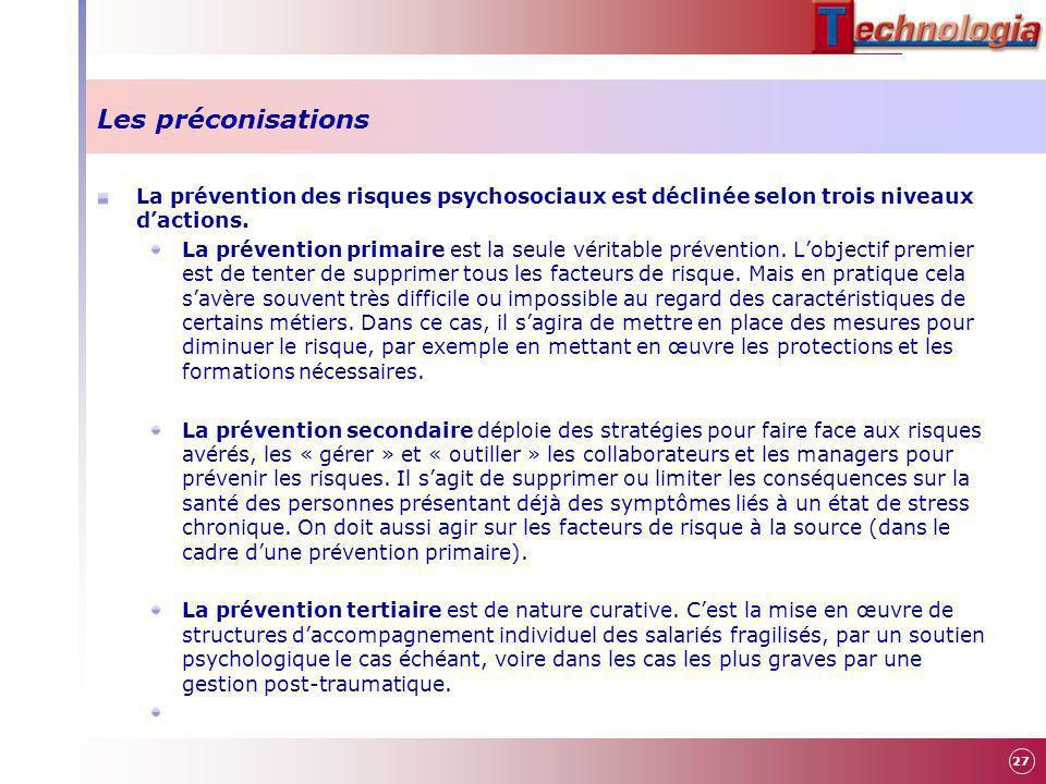 Les préconisations La prévention des risques psychosociaux est déclinée selon trois niveaux d'actions.