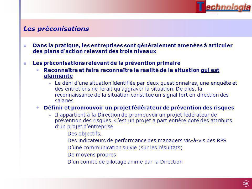 Les préconisations Dans la pratique, les entreprises sont généralement amenées à articuler des plans d'action relevant des trois niveaux.