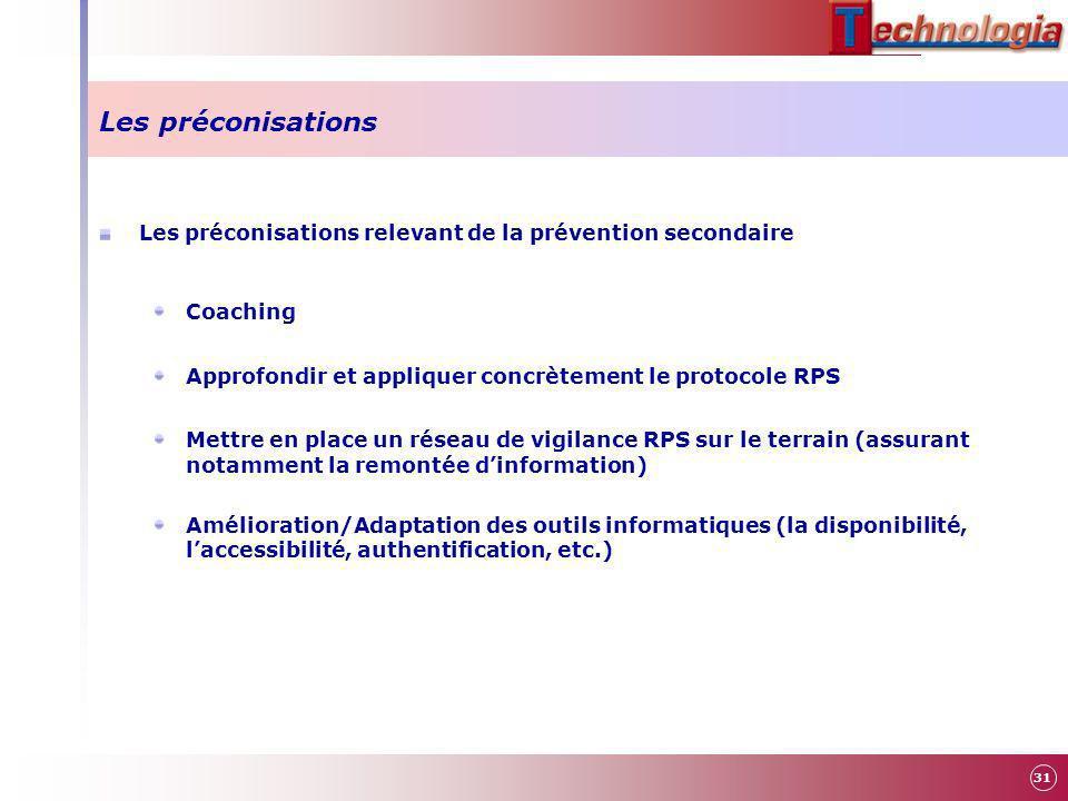 Les préconisations Les préconisations relevant de la prévention secondaire. Coaching. Approfondir et appliquer concrètement le protocole RPS.