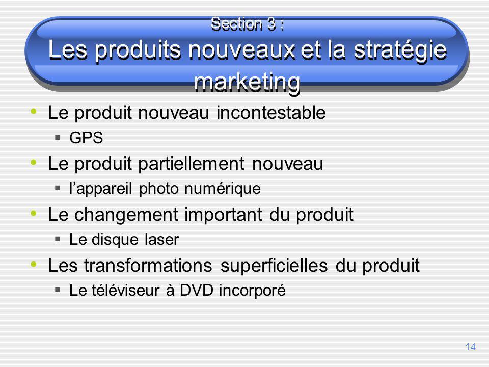 Section 3 : Les produits nouveaux et la stratégie marketing