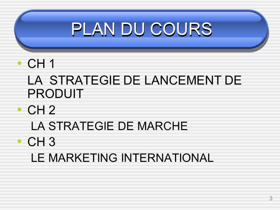PLAN DU COURS CH 1 LA STRATEGIE DE LANCEMENT DE PRODUIT CH 2 CH 3