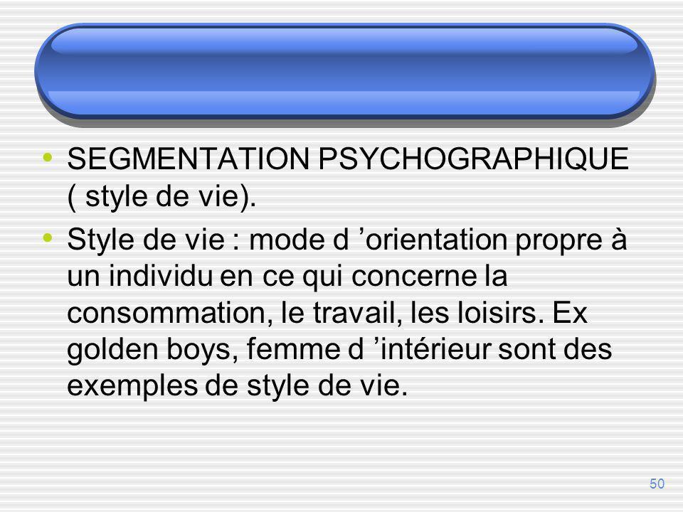 SEGMENTATION PSYCHOGRAPHIQUE ( style de vie).