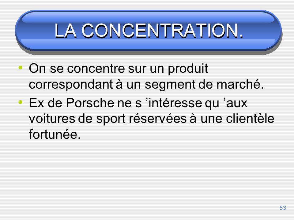 LA CONCENTRATION. On se concentre sur un produit correspondant à un segment de marché.