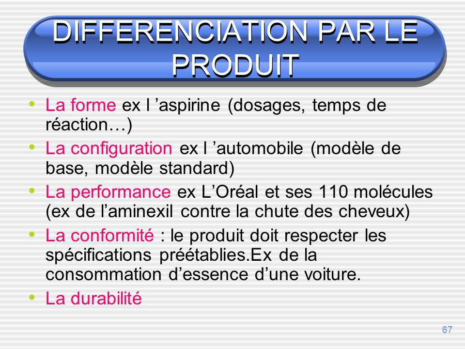 DIFFERENCIATION PAR LE PRODUIT