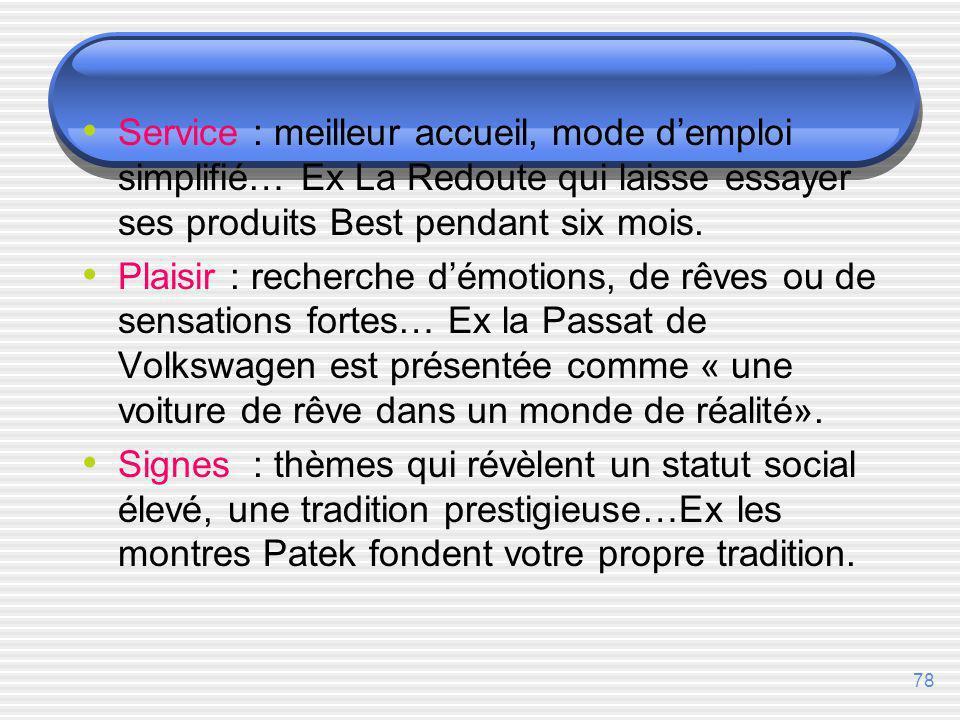 Service : meilleur accueil, mode d'emploi simplifié… Ex La Redoute qui laisse essayer ses produits Best pendant six mois.