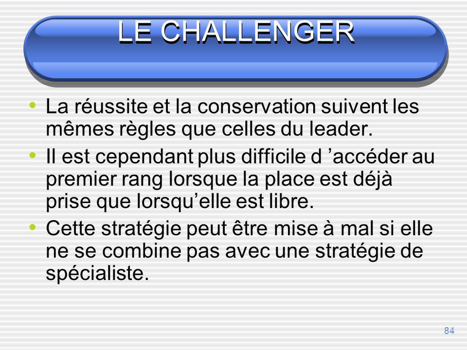 LE CHALLENGER La réussite et la conservation suivent les mêmes règles que celles du leader.