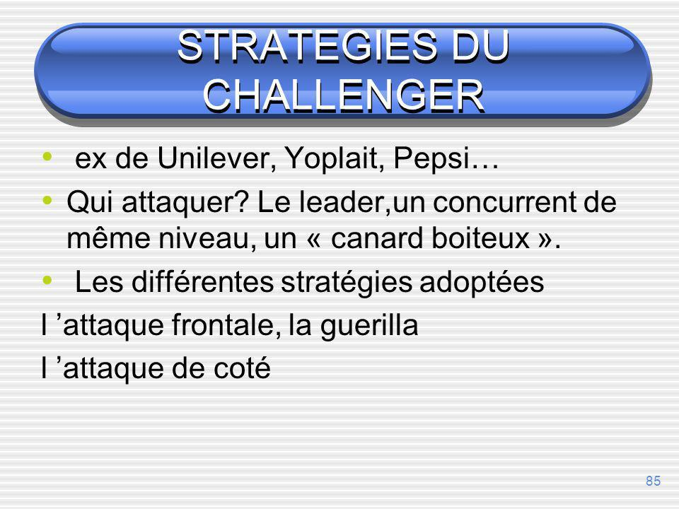 STRATEGIES DU CHALLENGER