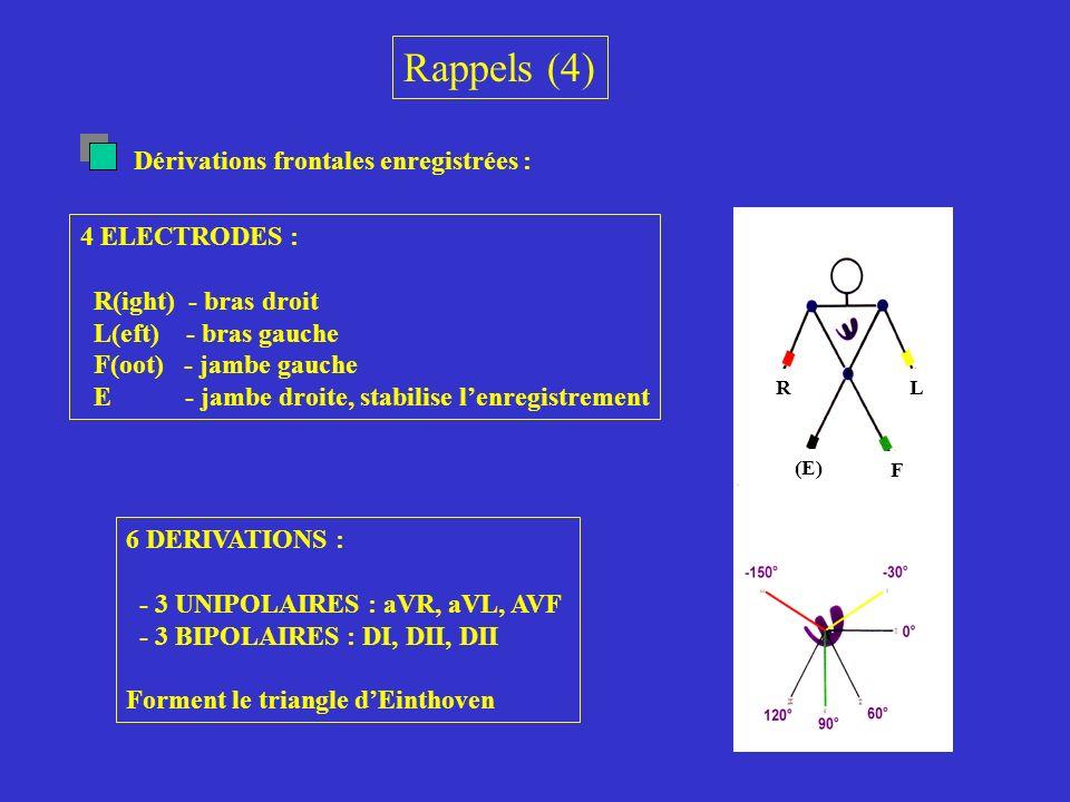 Rappels (4) Dérivations frontales enregistrées : 4 ELECTRODES :