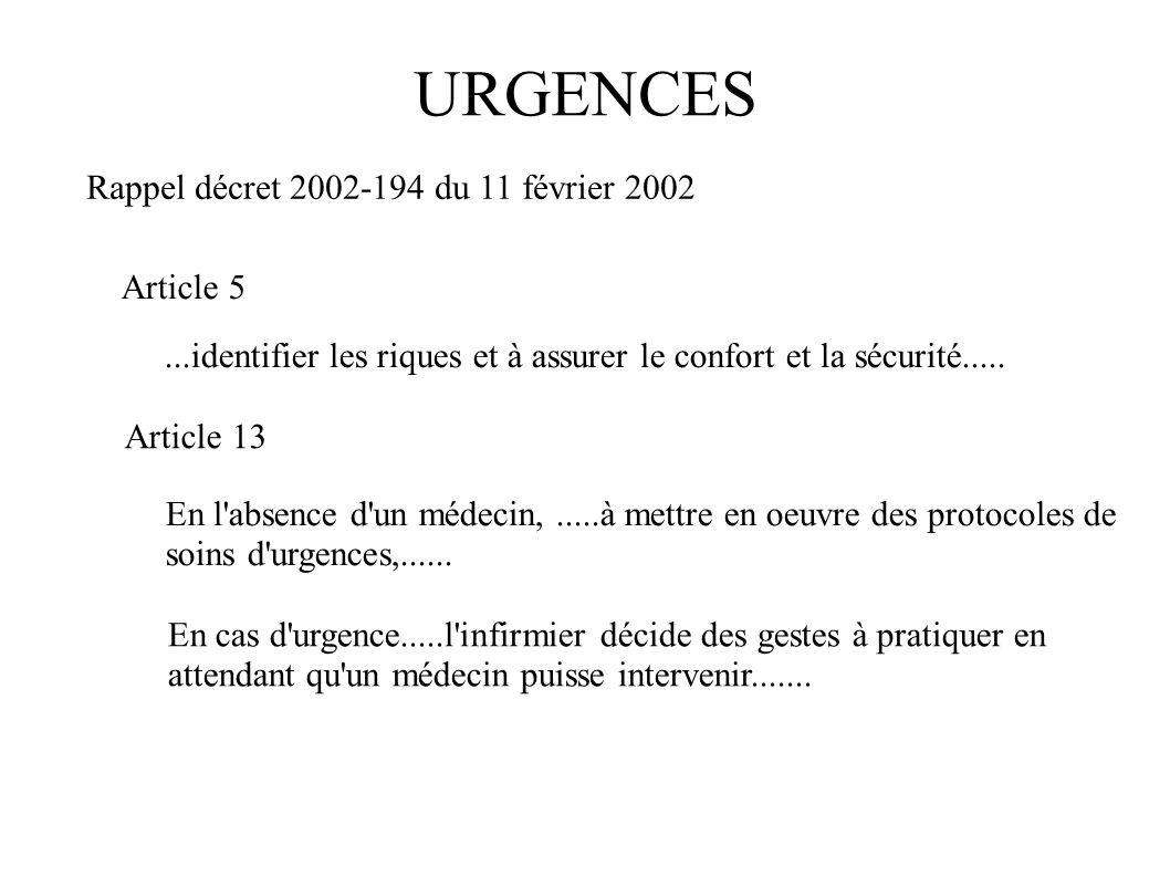URGENCES Rappel décret 2002-194 du 11 février 2002 Article 5