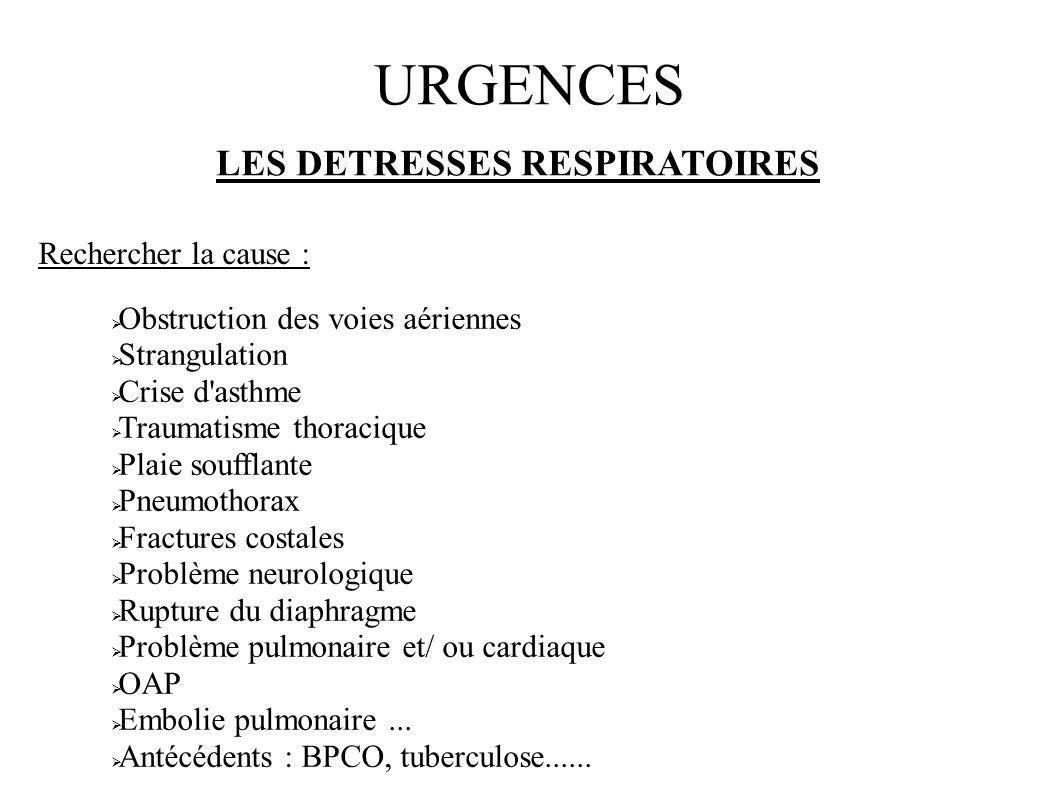 URGENCES LES DETRESSES RESPIRATOIRES Rechercher la cause :