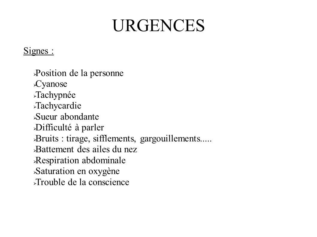 URGENCES Signes : Position de la personne Cyanose Tachypnée