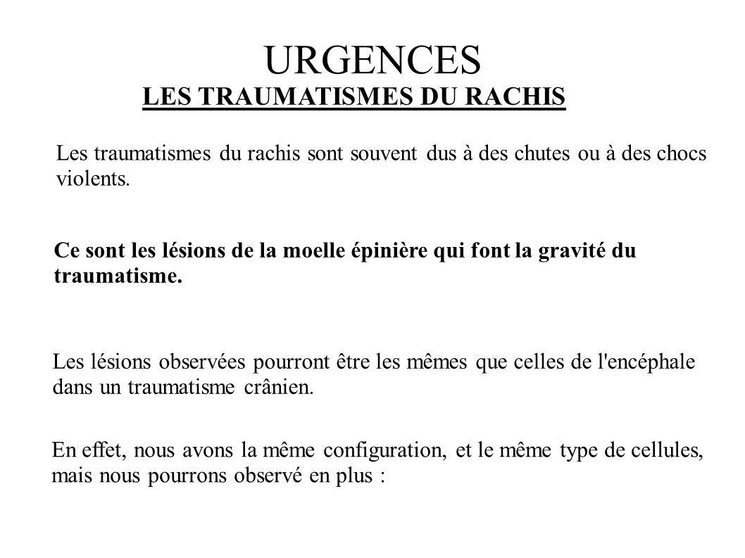 URGENCES LES TRAUMATISMES DU RACHIS