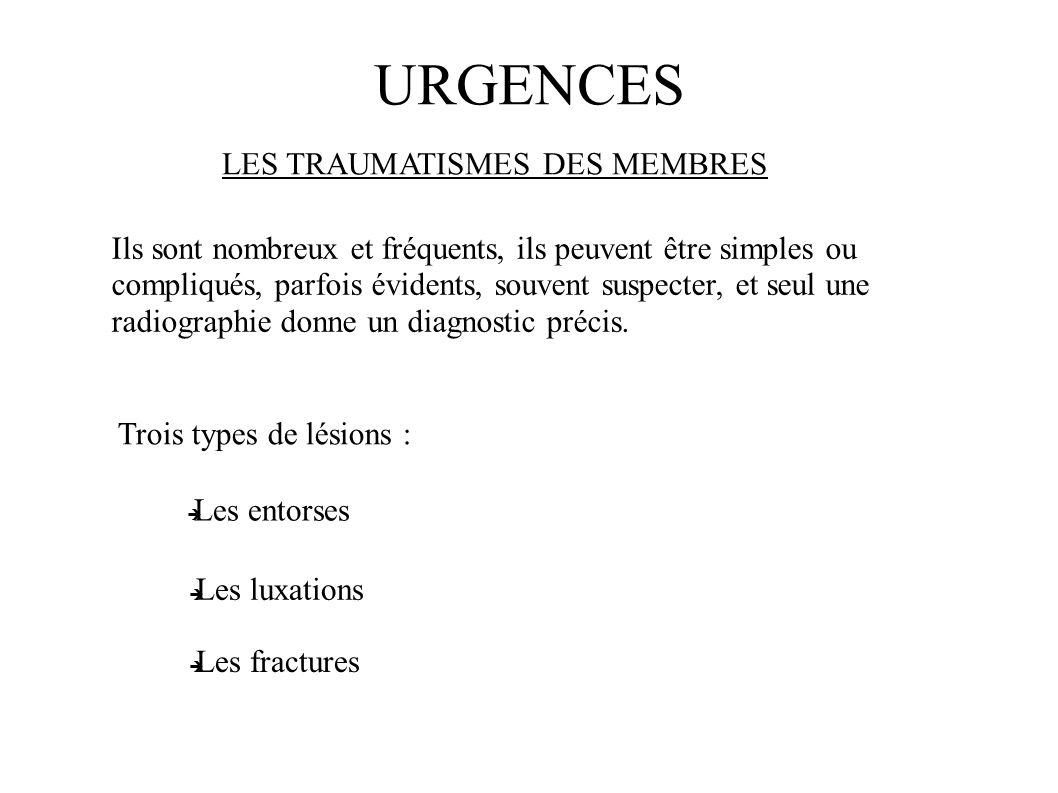 URGENCES LES TRAUMATISMES DES MEMBRES