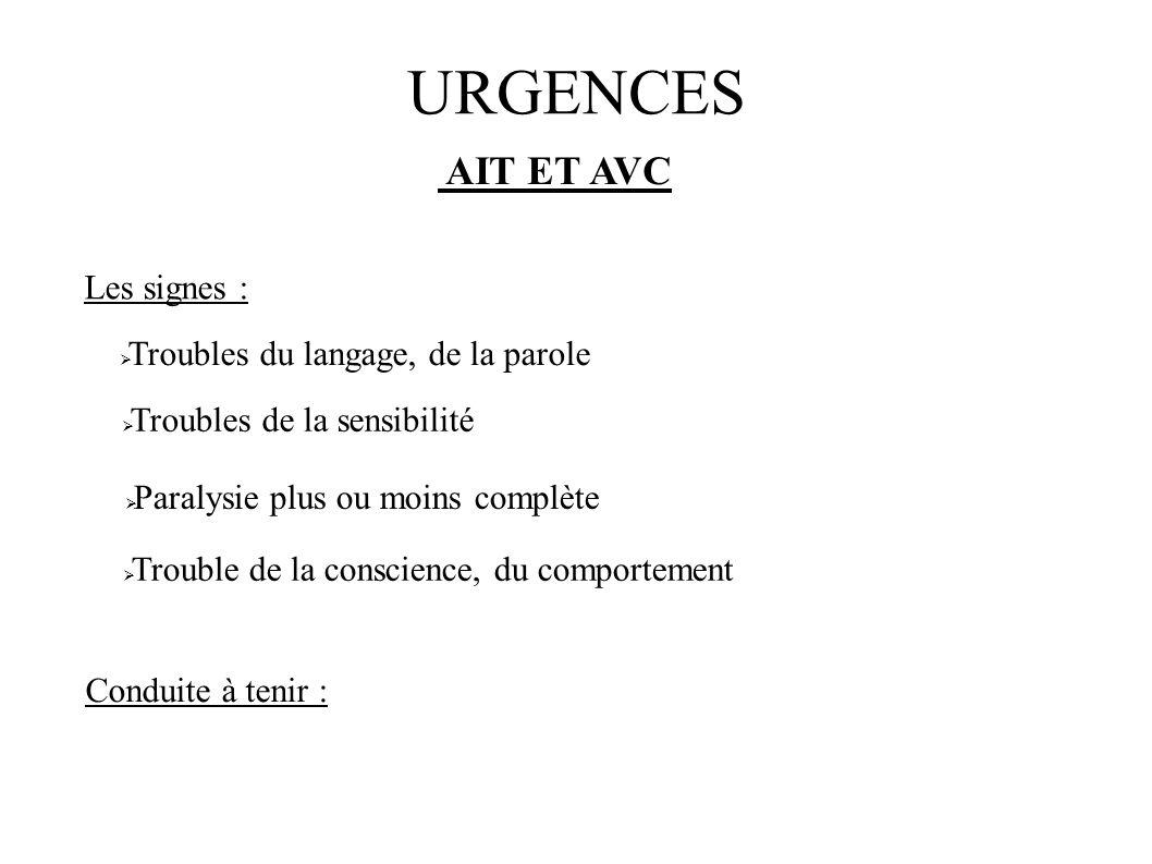 URGENCES AIT ET AVC Les signes : Troubles du langage, de la parole