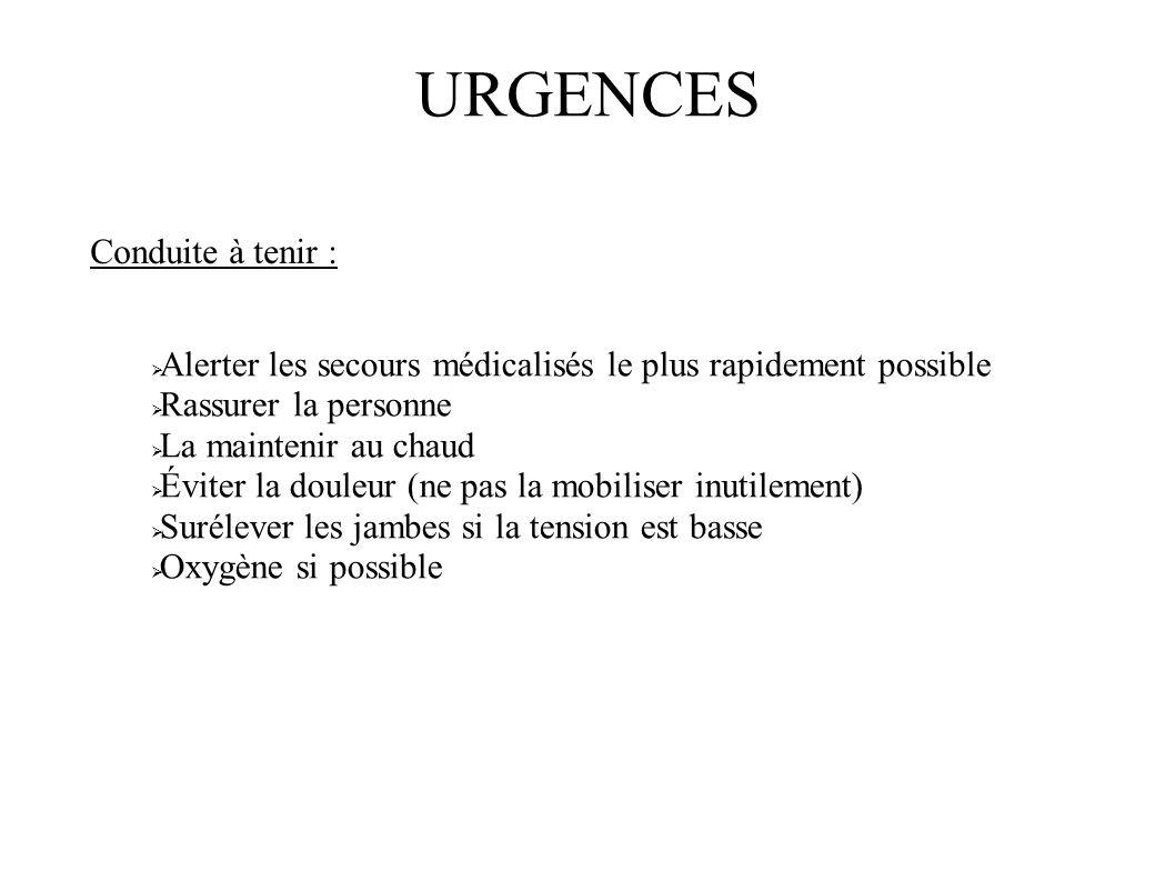 URGENCES Conduite à tenir :