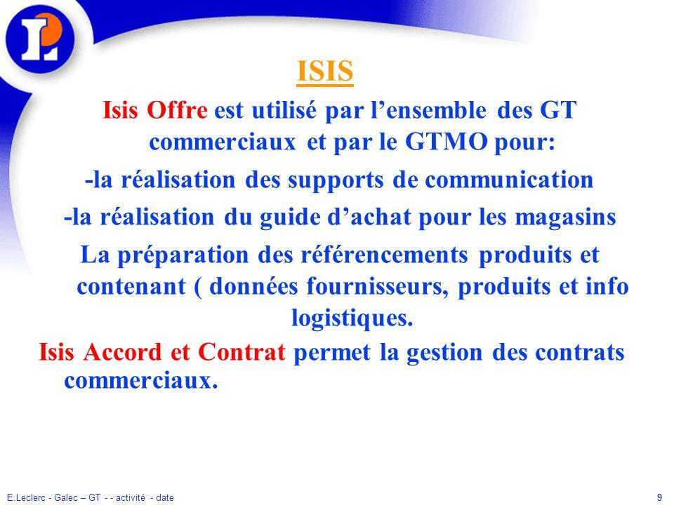 ISIS Isis Offre est utilisé par l'ensemble des GT commerciaux et par le GTMO pour: -la réalisation des supports de communication.