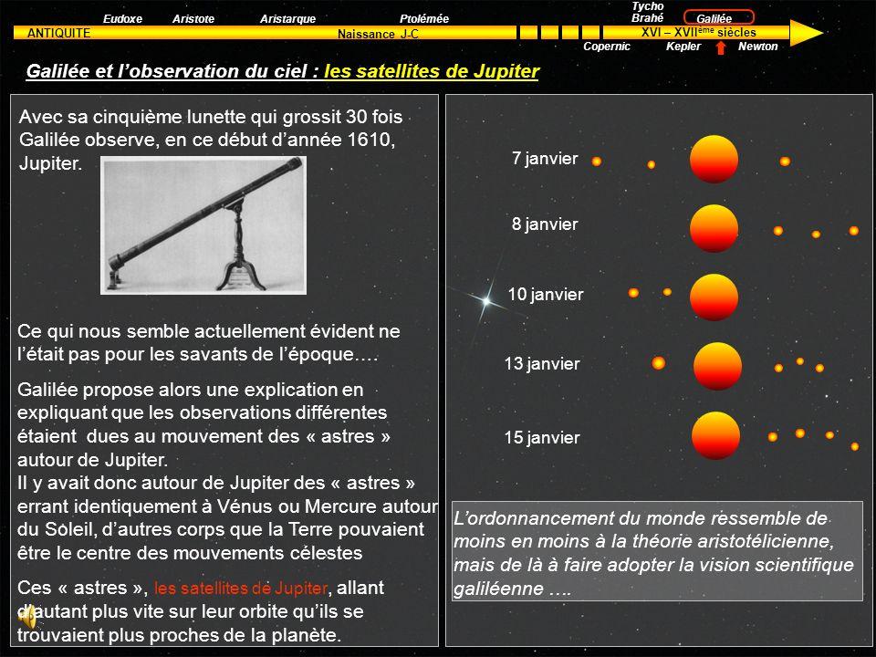 Galilée et l'observation du ciel : les satellites de Jupiter