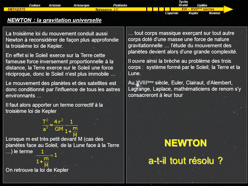 NEWTON : la gravitation universelle