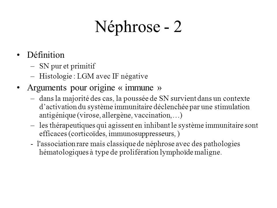 Néphrose - 2 Définition Arguments pour origine « immune »
