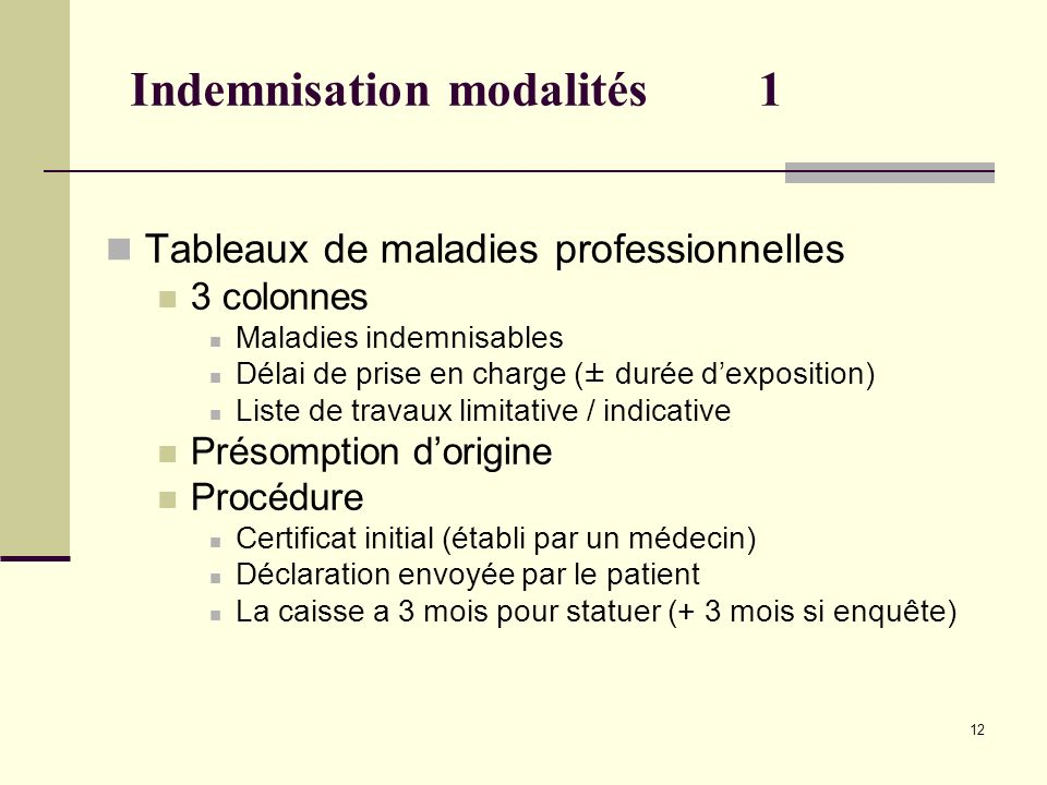 Indemnisation modalités 1