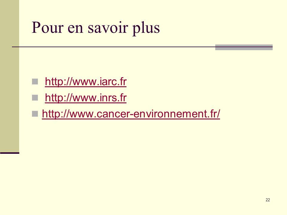 Pour en savoir plus http://www.iarc.fr http://www.inrs.fr