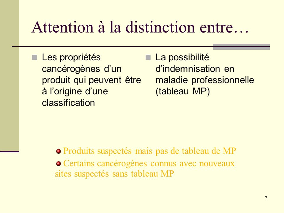 Attention à la distinction entre…