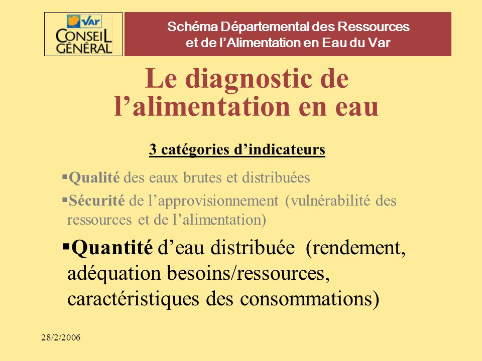 Le diagnostic de l'alimentation en eau
