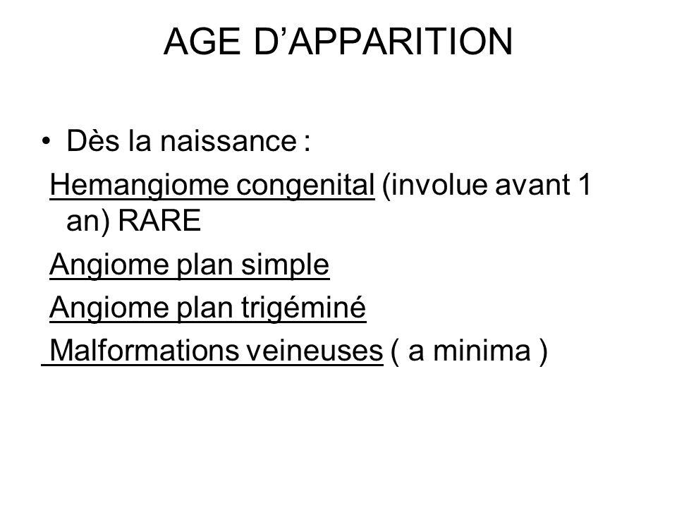 AGE D'APPARITION Dès la naissance :