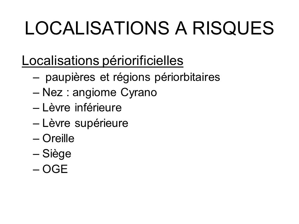 LOCALISATIONS A RISQUES