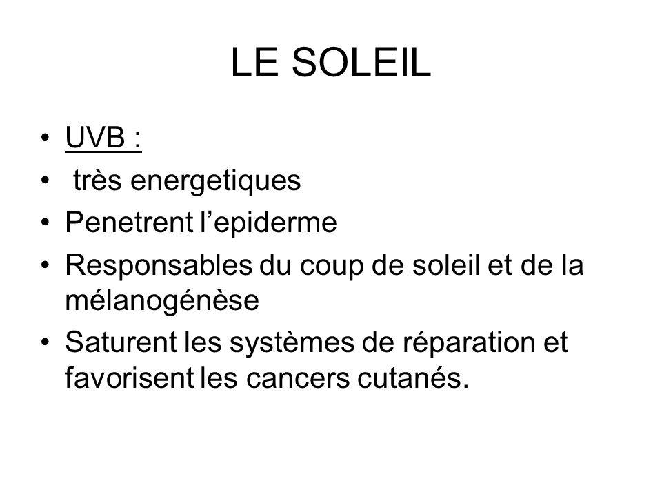 LE SOLEIL UVB : très energetiques Penetrent l'epiderme
