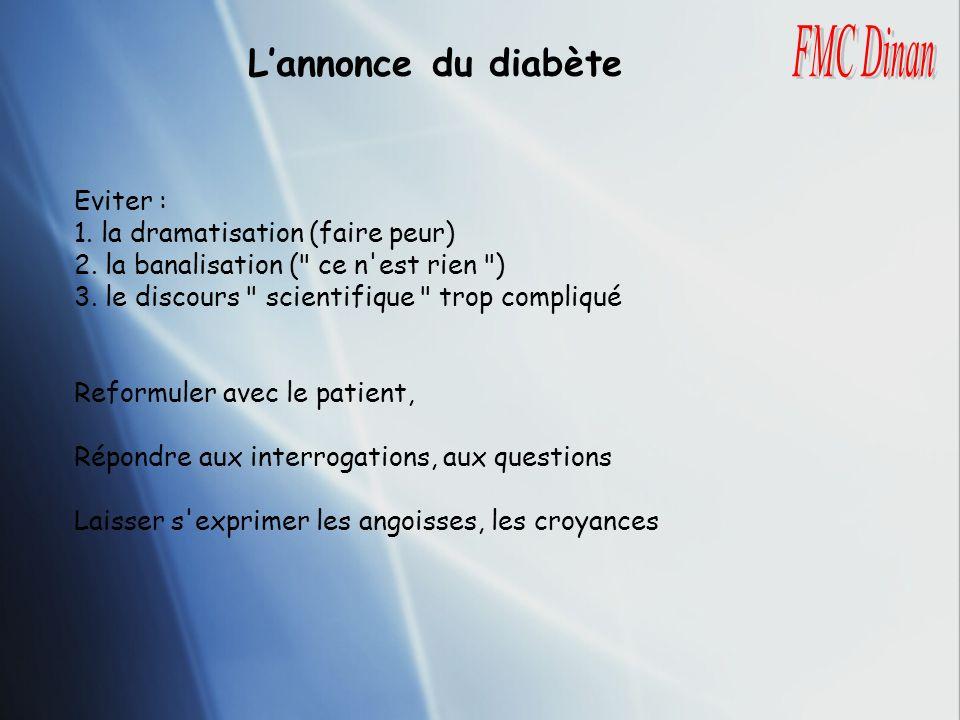 L'annonce du diabète FMC Dinan Eviter :