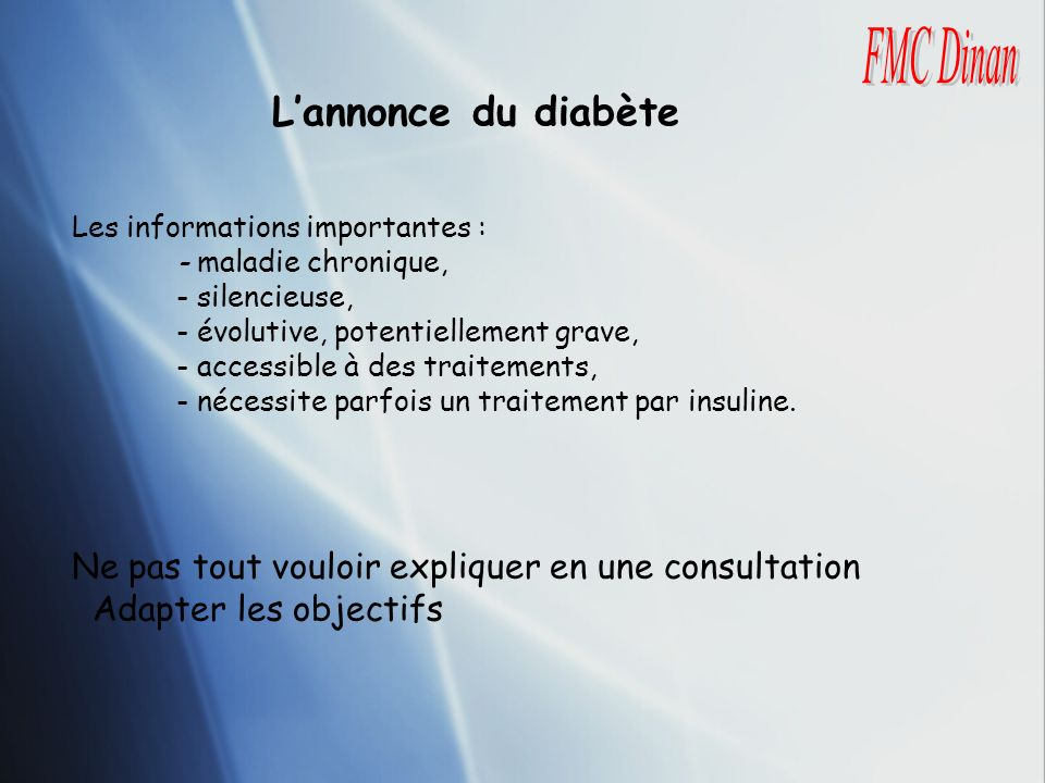 L'annonce du diabète FMC Dinan