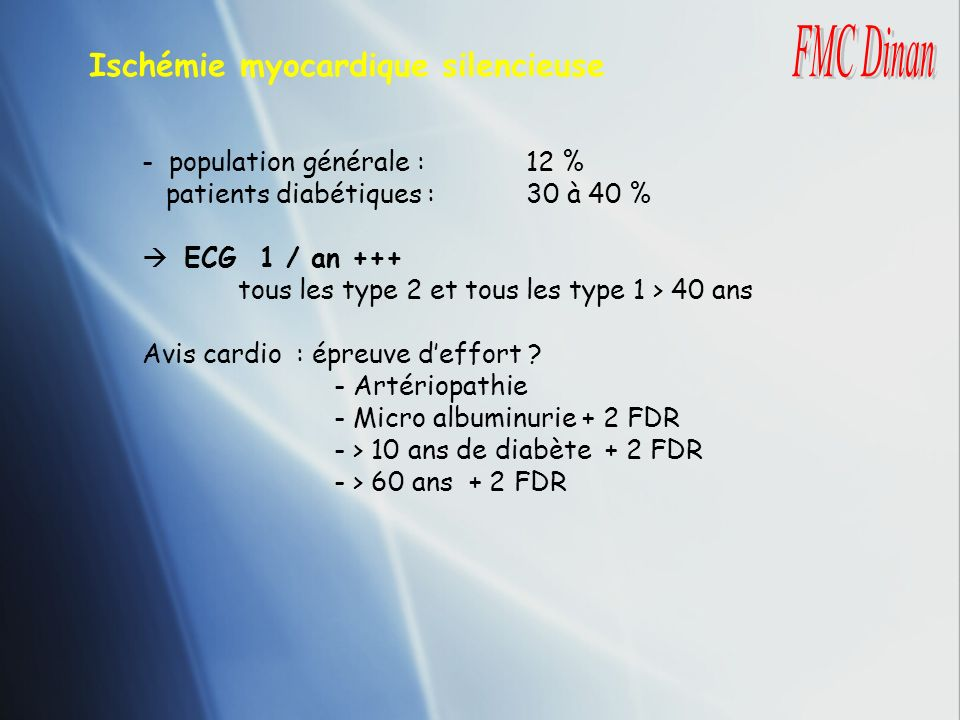 Ischémie myocardique silencieuse FMC Dinan