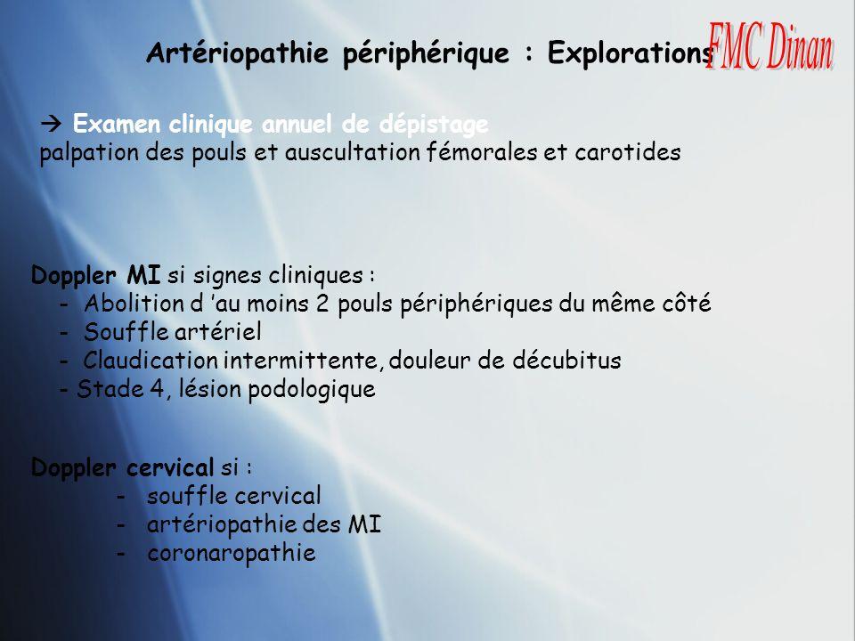 Artériopathie périphérique : Explorations