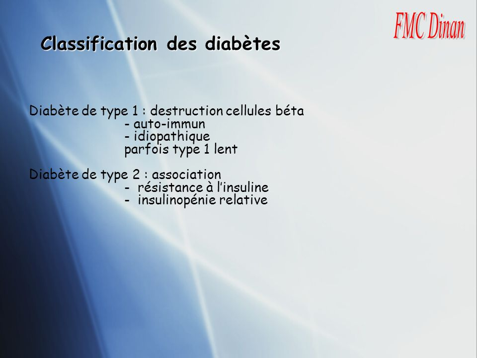 Classification des diabètes
