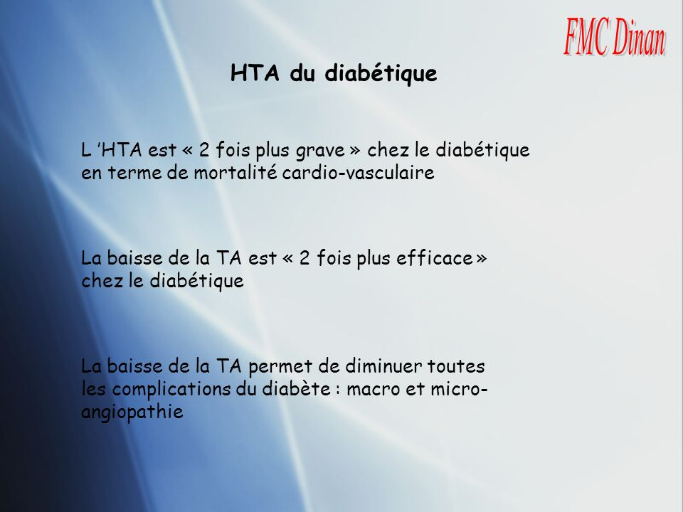 FMC Dinan HTA du diabétique