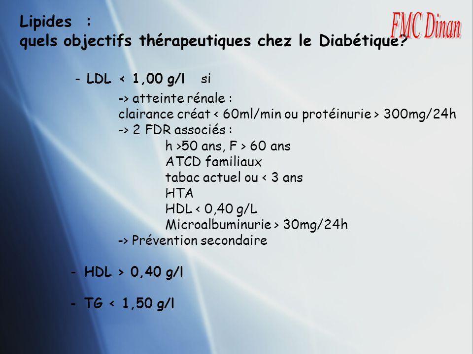 quels objectifs thérapeutiques chez le Diabétique FMC Dinan