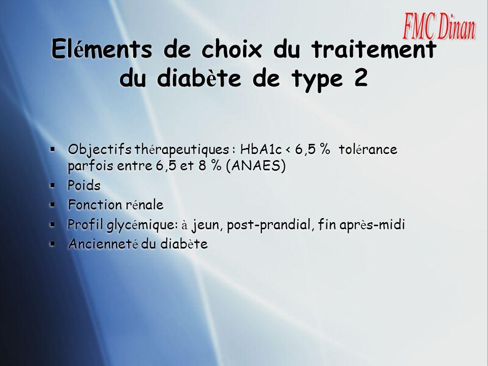 Eléments de choix du traitement du diabète de type 2